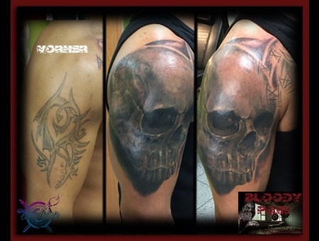 Skull  Cover Up  No Tribal Arm