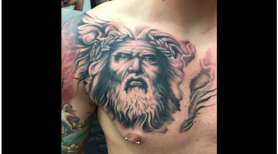 Zeus  Realism  Black And Grey  Portrait   Chest