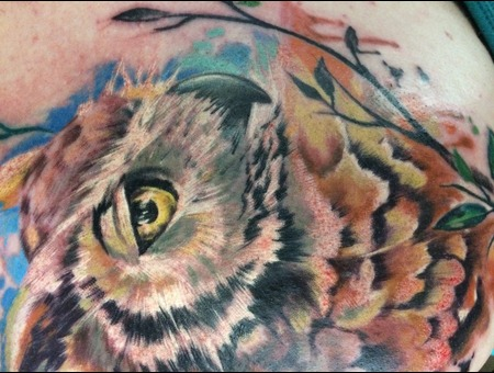 Owl Tattoos Owl Colourful Tattoos Back