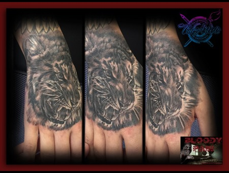 Handtattoo  Lion  Realistic  Hand Tattoo  Animal Tattoo Forearm