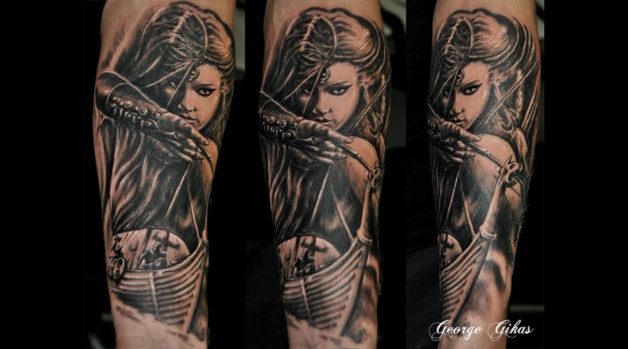Viking Girl Ship Arow Forearm