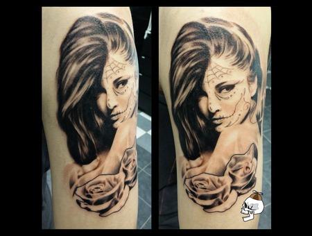 Dia De Los Muertos Woman Roses Realism Arm