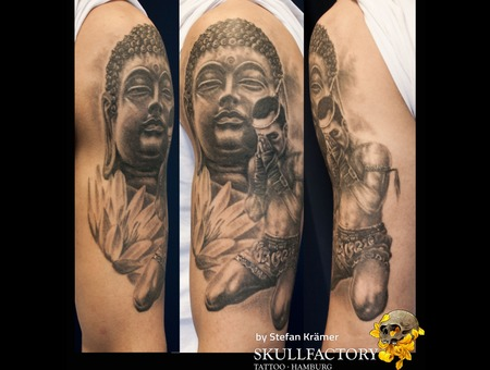 Muay Thai  Buddha Black Grey Arm