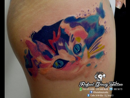 Watercolor  Cat  Thigh
