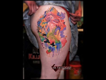 Mermaid  Watercolour Tattoo Thigh