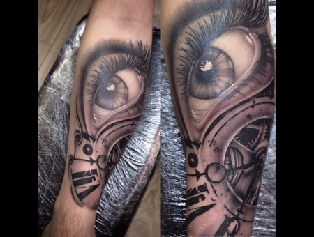 Eye And Clock Sleeve Forearm