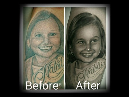 Cover Up  Portrait  Bkack N Grry Forearm