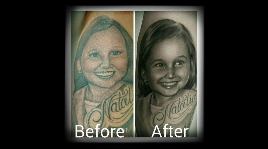 Cover Up  Portrait  Bkack N Grry Forearm