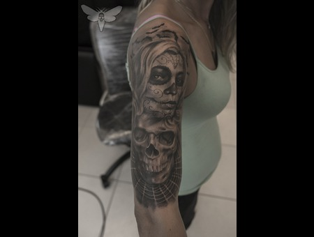 Dis De Los Muertos Tattoo  Day Of The Death Tattoo   Arm