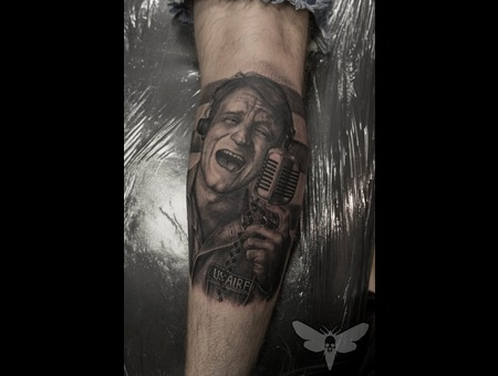 Robin Williams Portrait Tattoo  Black And Gray Portrait  Robin Williams Lower Leg