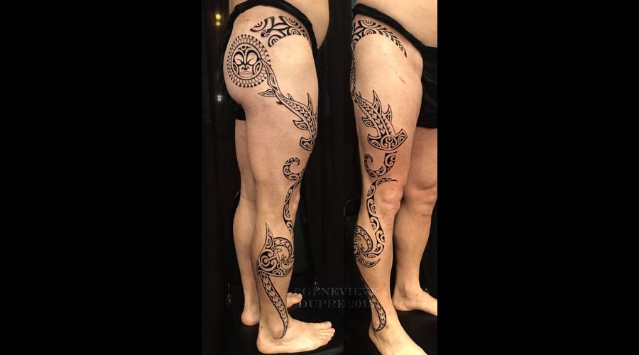 Polynesian  Marquesan  Tahitian  Hawaiian  Tribal  Blackwork Thigh