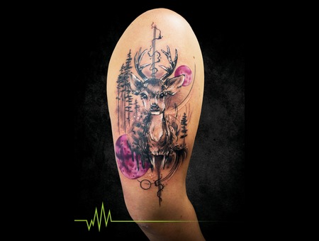 Trees  Forest  Deer  Abstract  Geometric  Trash  Sketch Forearm