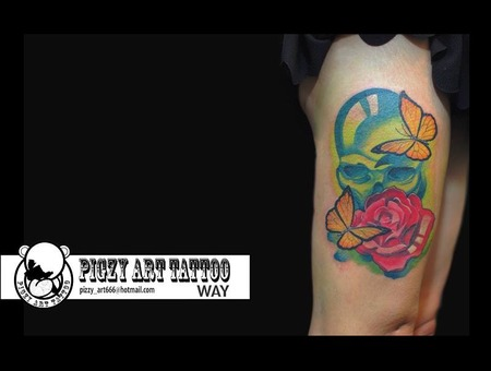 Rose;Skull;Thigh;Butterfly;Tattoo;Color Thigh