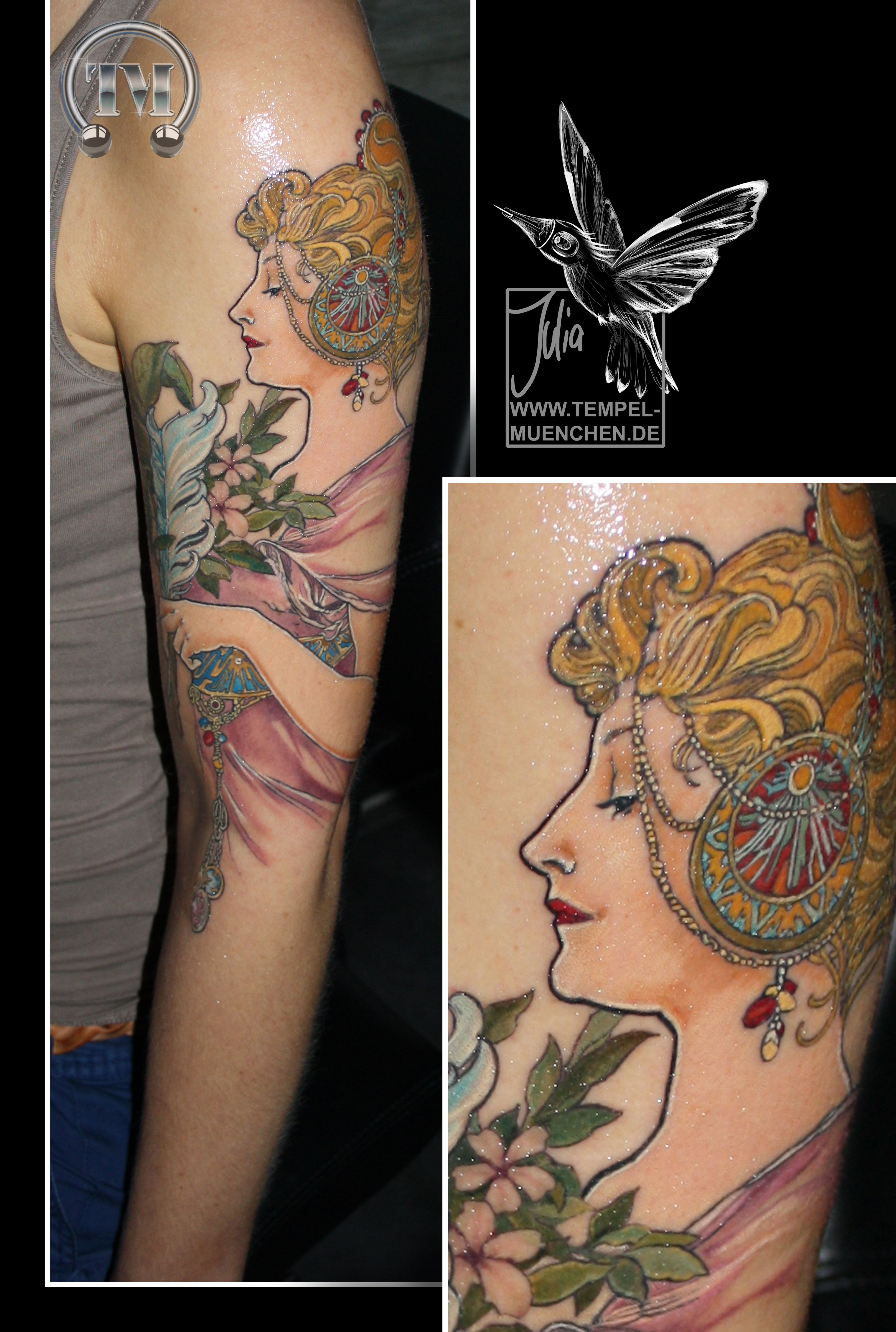 Faszinierend Feder Tattoo Unterarm Galerie Von Alphonse Mucha Mucha Feather Art Nouveau Color