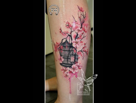 Bird Cage  Cage  Flowers  Watercolor  Pixel  Branch  Cherry Blossom  Lower Leg