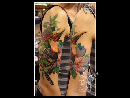 Toukan  Hibiscus  Pixel  Branch  Flower  Bird  Berries Arm