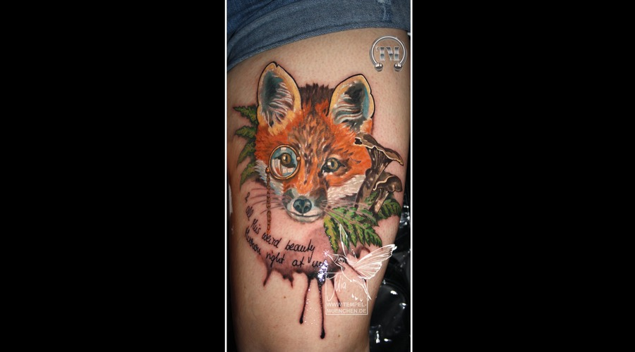 Fox  Watercolor  Animal  Monocle  Mushrooms  Wood  Forrest    Color Thigh