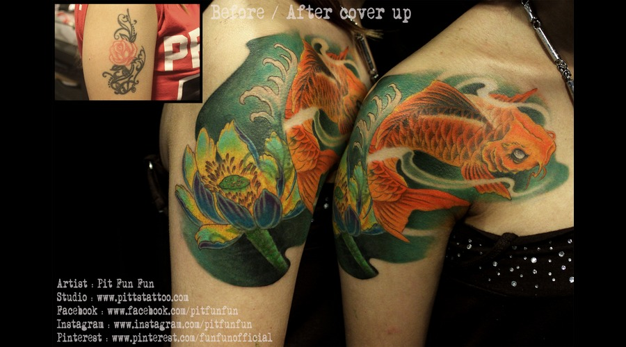 Koi Fish Coverup Design And Tattoo By Pit Fun Chest