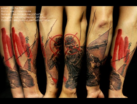 War Soldiers Trash Polka Style Design And Tattoo By Pit Fun Forearm