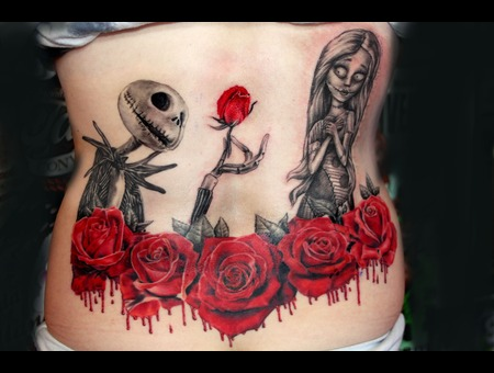 Nightmare Before Christmas With Bloody Roses Tattoo By Mirek Vel Stotker Color