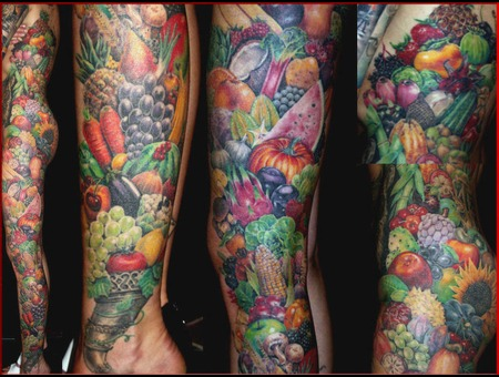 Fruits And Veggies Tattoo  By Mirek Vel Stotker Color