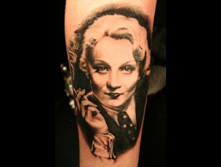 Marlene Dietrich Tattoo Portrait By Mirek Vel Stotker
