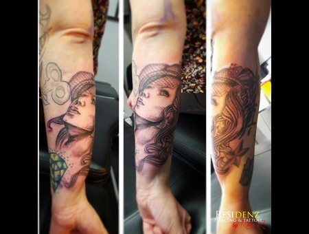 Tattoo  Blackgray  Girl  Love  Ink Black Grey Arm