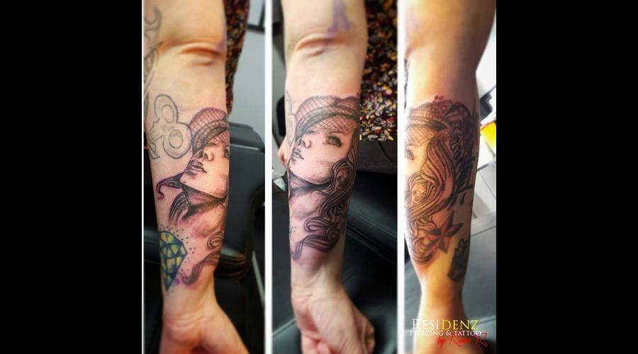 Tattoo  Blackgray  Girl  Love  Ink Black Grey Arm