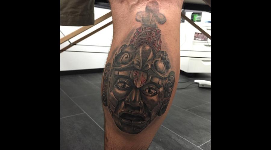 #Tikalmask #Realistictattoos Lower Leg