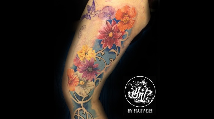 Flowers  Floral  Color  Colortattoo  In Progress Thigh