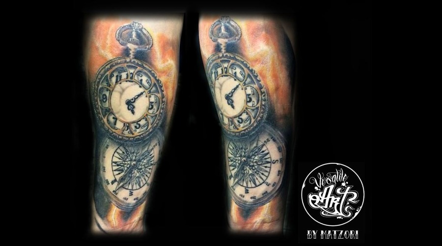 Clock Compass Clocktattoo Color Colorrealistic Details Healed Forearm
