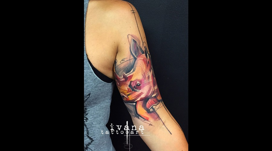 Rhino; Rhinowatercolor  Tattoo  Colortattoo  Watercolor Arm