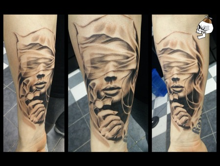 Woman Blindfold Cross Crucifix Realism Forearm