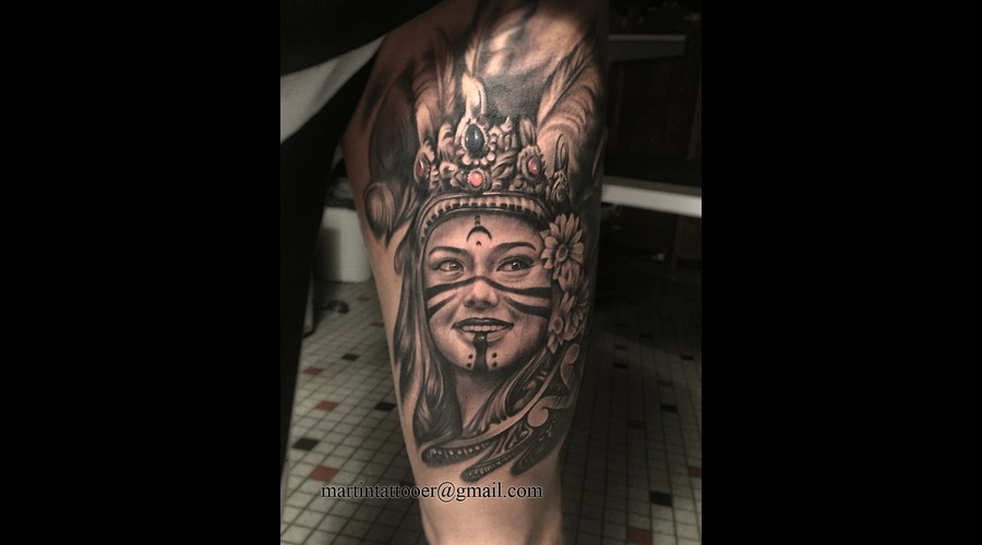 Blackandwhite Face Aztec Princess Realistic Realism  Thigh