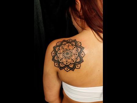 Geomertic Flower  Shoulder Blade   Tattoo Black Grey Shoulder