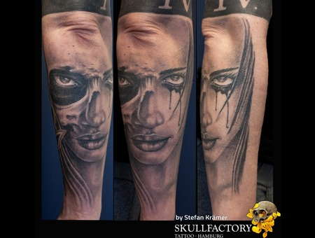 Face  Skull Black Grey Forearm