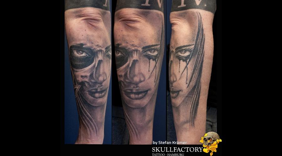 Face  Skull Black Grey Forearm