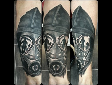 Tattoo  Art   Gas Mask Forearm