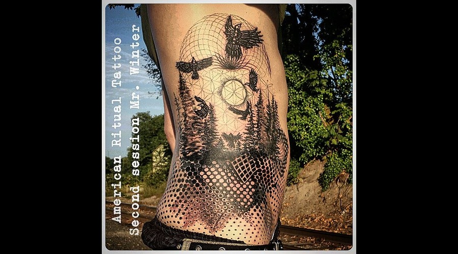 Blackwork  Dotwork  Sacred Geometry  Nature  Raven  Pnw  420  Half Tone Ribs