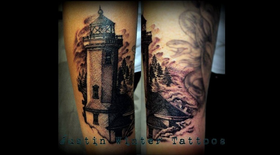 Lighthouse  Blackwork  Vintage  420  Realistic  Grey Scale Arm