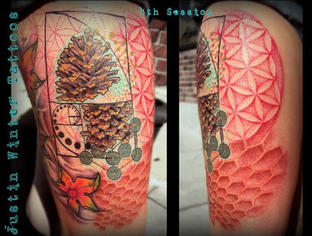 Pine Cone  Flower Of Life  Metatrons Cube  420  Psychedelic  Golden Ratio  Thigh