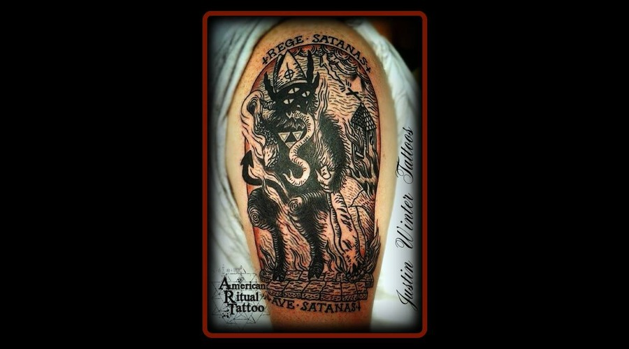 Satan  Church  Flaming  Devil  Blackwork  Wood Cut  420 Arm