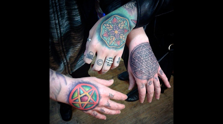 Hand Tattoos  Geometric  Pentacle  Star  Mandala  Ladies