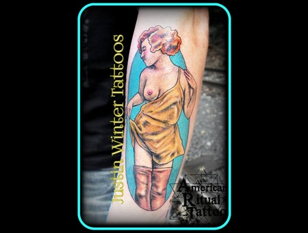 Pinup  Neotraditional  Flapper  Nude  Hot Arm