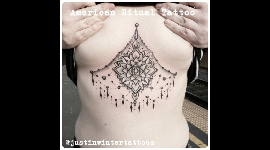 Geometric  Underboob  Underbreast  Mandala  Dotwork  Blackwork  Gems Chest