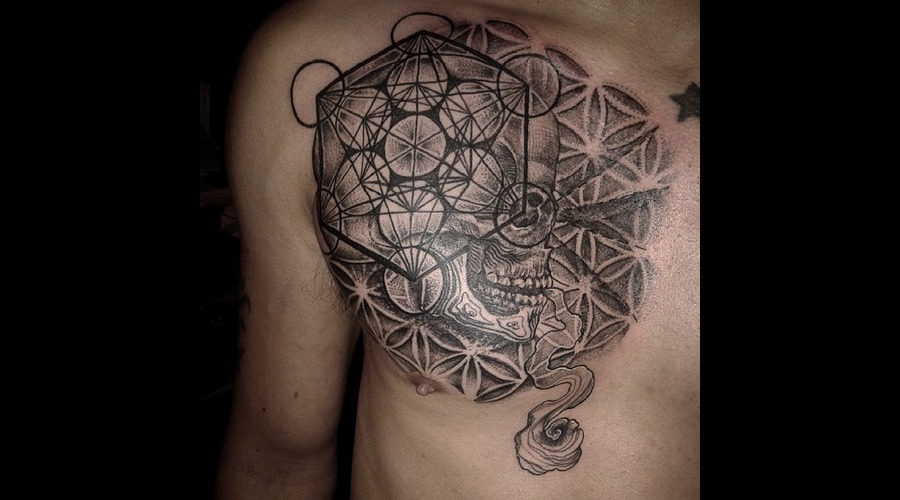Blackwork  Geometric  Sacred Geometry  Skull  Weed  Psychedelic Chest