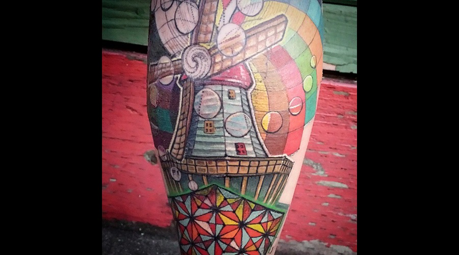 Windmill  Geometric  Sacred Geometry  Rainbow  Mandala Lower Leg