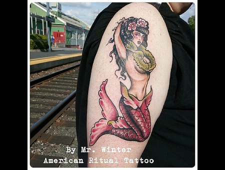 Traditional  Mermaid  Hot  Neotraditional  Pinup Arm