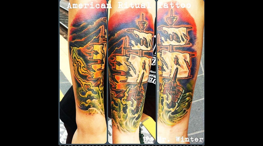 Traditional  Neotraditional  Ship  Nautical  Ghost  Haunted  Sail Forearm