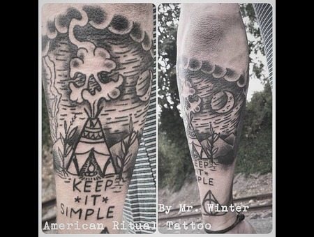 Blackwork  Teepee  Keep It Simple  Traditional  Nature  420  Weed  Smoke Lower Leg